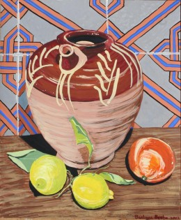 "Jug with Lemons and Orange, Italy, gouache on paper, 17"" x 14"""