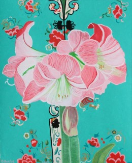 "Pink Amaryllis on Embroidered Chinese Robe, gouache on paper, 17"" x 14"""