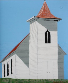 "Closed Country Church, Bottineau, North Dakota, gouache on paper, 17"" x 14"""