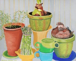 "Fiesta Ware Cups with Asparagus and Potted Plants, gouache on paper, 14"" x 17"""