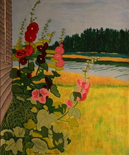 "Hollyhocks at Ivan's, gouache on paper, 24"" x 21"" framed"