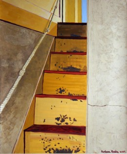 "Staircase with Rope, gouache on paper, 24"" x 21"" framed"
