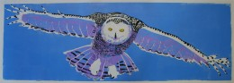 "Snowy Owl in Flight, 3-color linoleum block print, 12"" x 36"""