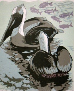 "Dreaming Pelicans, 5-color reduction woodcut, 17"" x 13.5"""