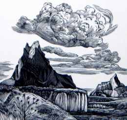 """Badlands Two,"" wood engraving, 3 3/4"" x 4"""