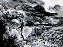 """Grand Canyon,"" wood engraving, 3"" x 2"""