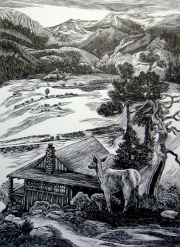 """Moraine-Park,"" wood engraving, 8"" x 6"""