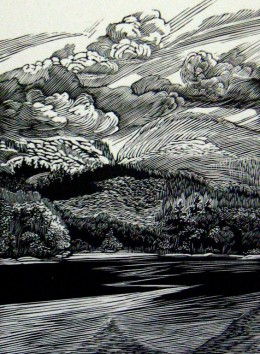 """Otter Cove,"" wood engraving, 4 5/8"" x 3 3/8"""