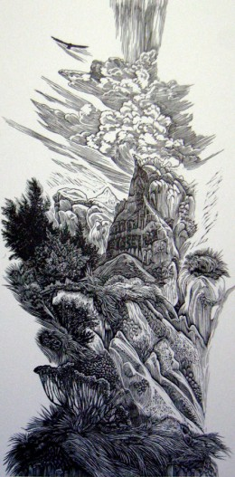 """Pinnacle,"" wood engraving, 10"" x 5"""