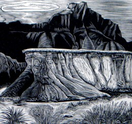 """Sod Table,"" wood engraving, 3 3/4"" x 4"""